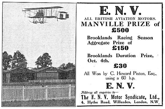 ENV Aviation Motors: C.Howard Pixton  Manville Prize Brooklands