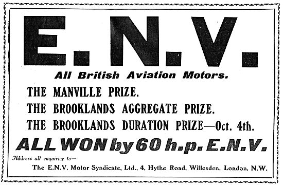 ENV 60 HP Aero Engines Win At Brooklands