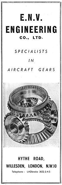 E.N.V. Engineering Aircraft Gear Specialists. 1950 Advert