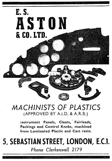 E.S. Aston & Co. A.I.D. Approved Machinists Of Plastics. 1950