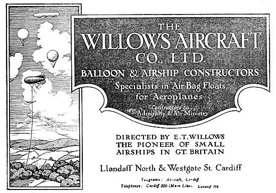 E.T.Willows. Balloons & Airships. Llandaff North Cardiff.