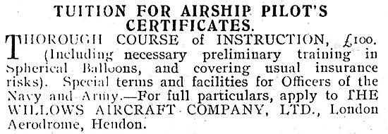 Tuition For The Airship Pilot's Certificate With E.T.Willows Ltd