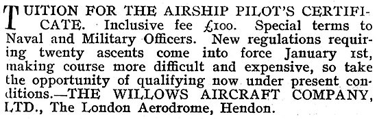 Tuition For The Airship Pilot's Certificate - E.T.Willows Hendon