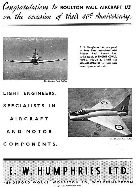 E.W.Humphires. Wolverhampton. Aircraft Sub Assemblies