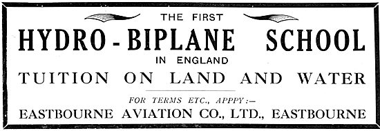 Eastbourne Aviation. Hydro-Biplane Flying School 1913