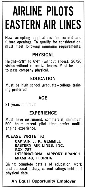 Eastern Airlines Pilot Recruitment Advert 1963