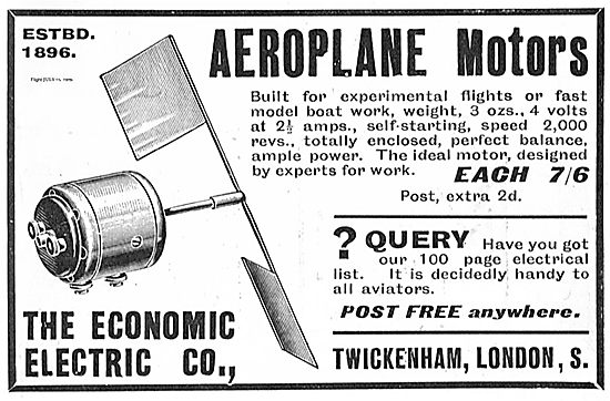 The Economic Electric Co Electric Motors For Aeroplane Models