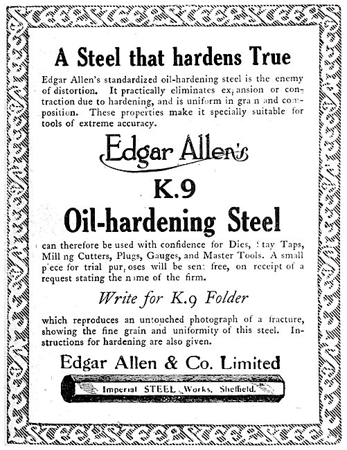 Edgar Allen & Co - K.9 Oil-Hardening Steel