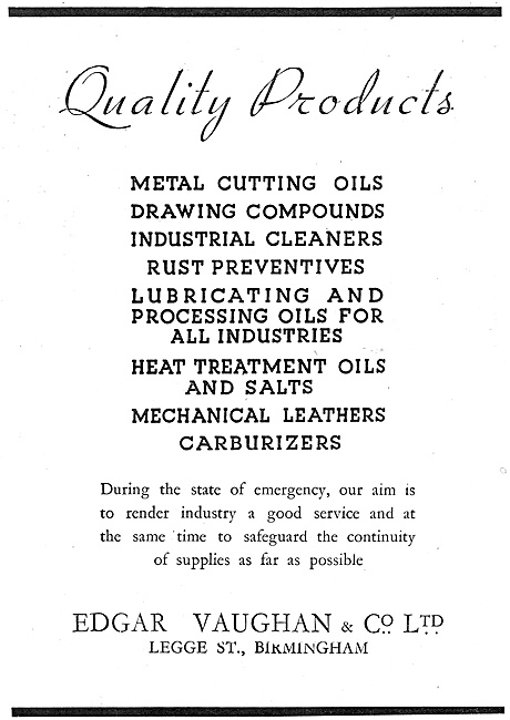 Edgar Vaughan - Oils & Compounds For The Metal-Working  Industry