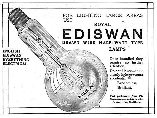 Edison Swan Drawn Wire Half-Watt Lamps For Aircraft Factories