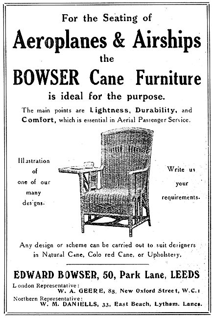 Edward Bowser Cane Seating For Aircraft