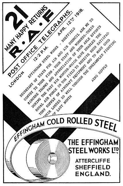The Effingham Steel Works, Cold Rolled Aircraft Steel 1933