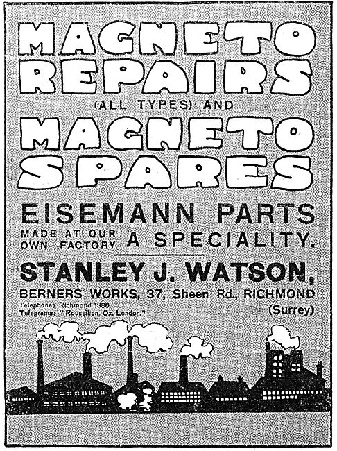 Stanley J.Waton. Richmond. Eisemann Magneto Parts & Repairs.