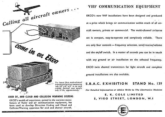 Ekco Airfield VHF Radio Installations 1949