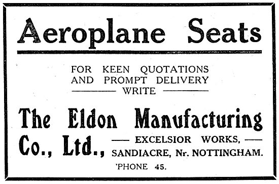 Eldon Manufacturing. Excelsior Works. Sandiacre. Aeroplane Seats