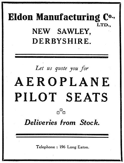 Eldon Manufacturing. New Sawley, Derbys. Aeroplane Pilot Seats