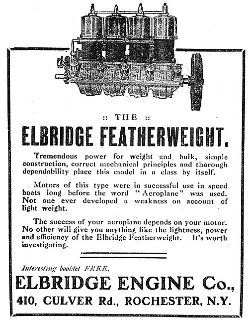 Eldridge Engine Co Culver Rd Rochester NY. Aero Engines