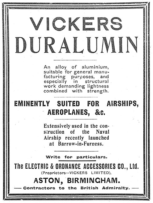 Electric & Ordnance : Vickers Duralumin