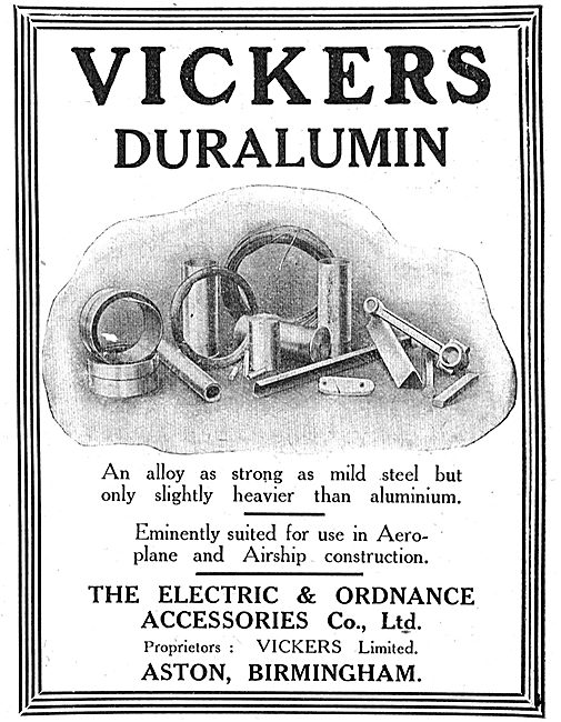 Electric & Ordnance Aston Birmingham: Vickers Duralumin