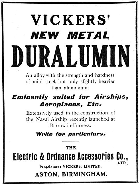 Electric & Ordnance Co : Vickers Duralumin