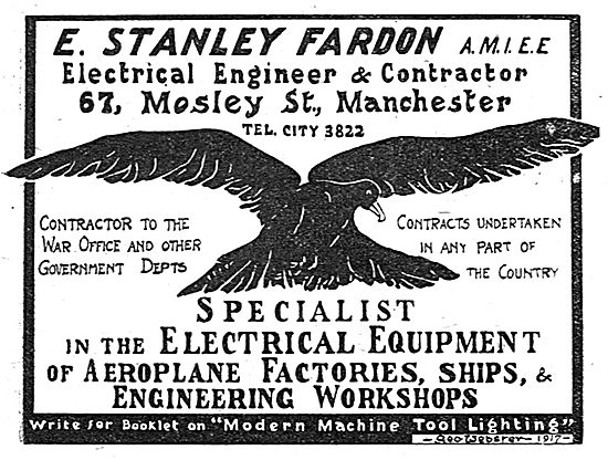 E.Stanley Fardon. Electrical Contractor. 67 Mosley St, Manchester