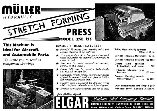 Elgar Machine Tools : Muller ZSE 125 Stretch Forming Press