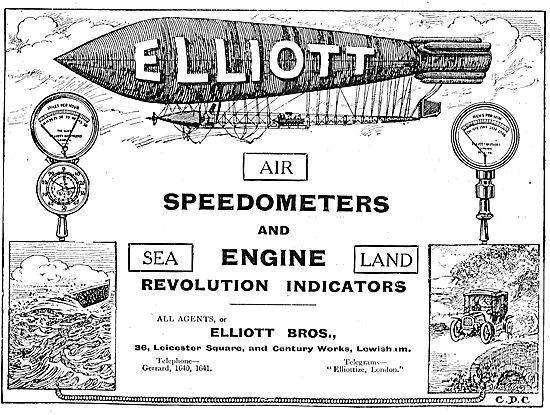 Elliott Brothers Aeroplane Speedometers & Revolution Indicators