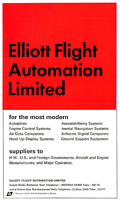 Elliott Flight Automation. Autopilots, HUD, INS, Computers