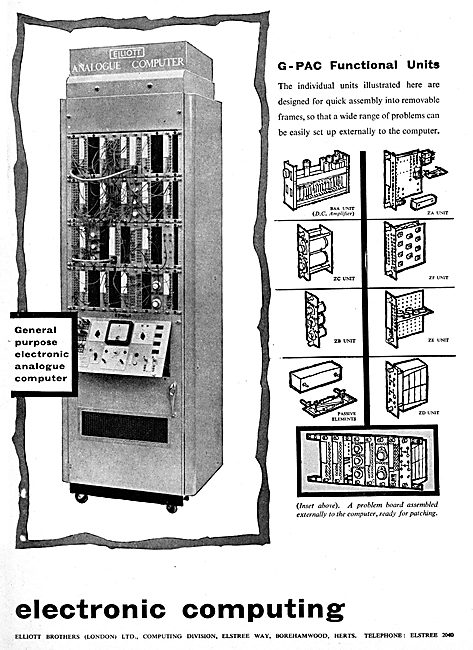 Elliott Brothers G-PAC Analogue Computer - List Of Units