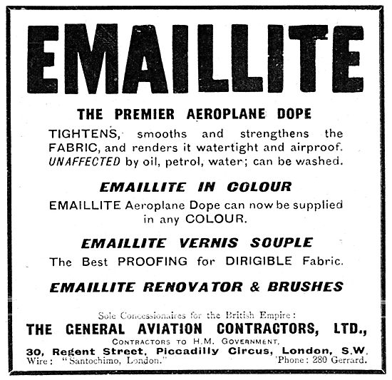 Emaillite Aeroplane Dope. General Aviation Contractors