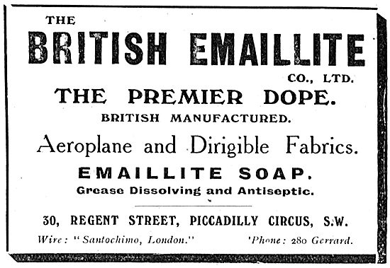 British Emaillite Dope & Fabrics For Aeroplanes & Airships
