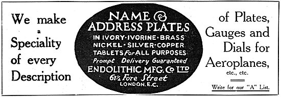 Endolithic Mfg Co Ltd - Plates, Gauges & Dials For Aircraft