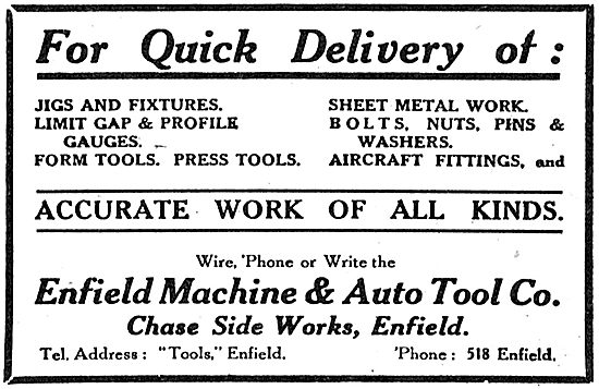 Enfield Machine & Auto Tool Company. Jigs, Fixtures & Sheet Metal