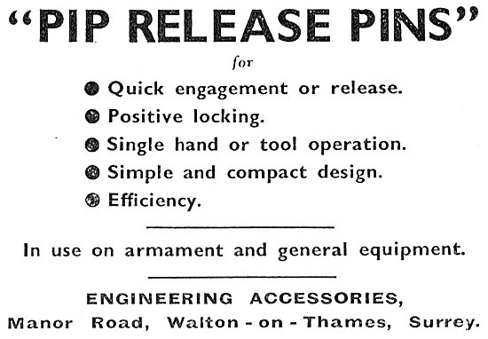 Engineering Accessories. Walton-On-Thames. Pip Release Pins