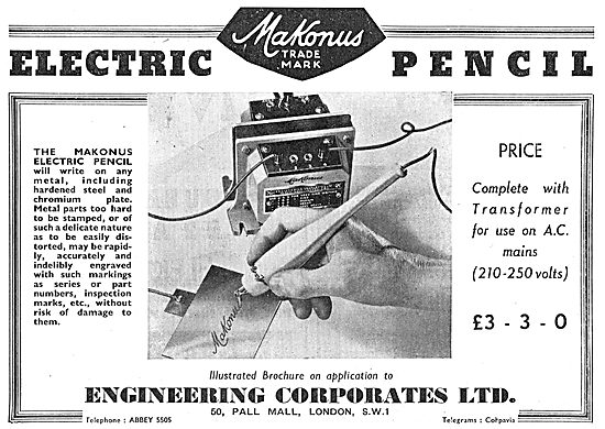 Engineering Corporates Makonus Electric Pencil. Etching Marking