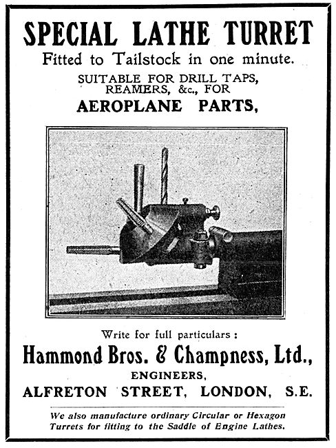 Hammond Bros & Champness Ltd - Special Lathe Turret  Attachment