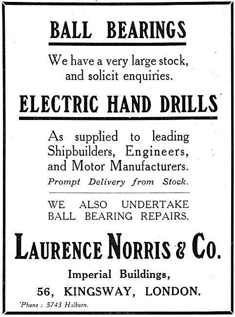 Laurence Norris & Co Electric Hand Drills. Ball Bearing Repairs
