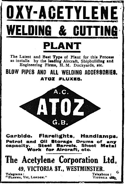 The Acetyline Corporation - AC ATOZ GB. Carbide, Flarelights Etc