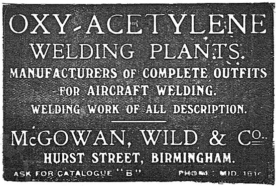 McGowan Wild & Co Oxy-Acetylene Welding Plants