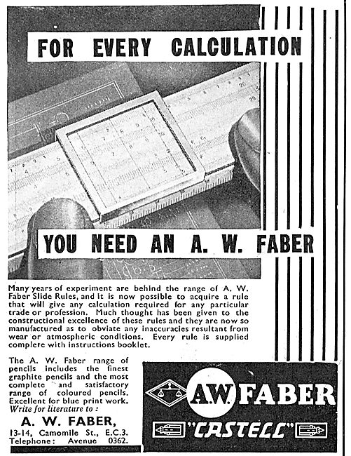Faber Slide Rule For Aircraft Designers - Castell