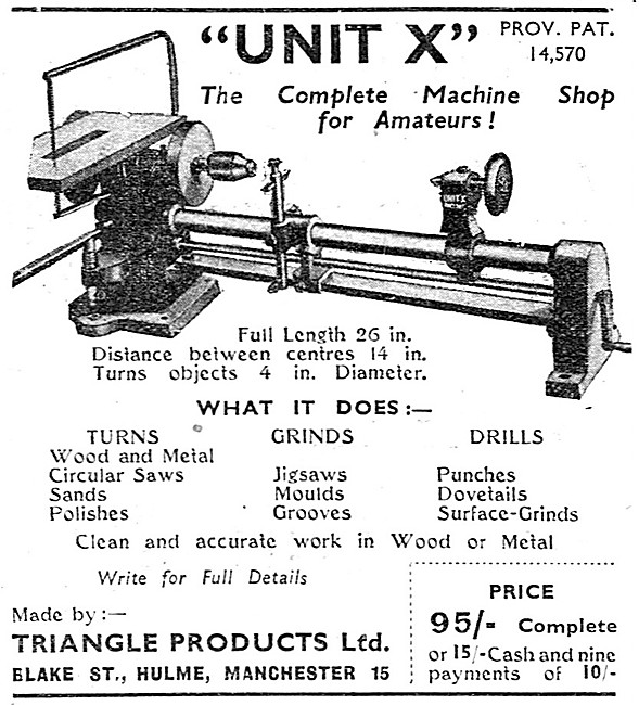 Triangle Products. Unit X Miniature Lathe