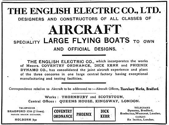 The English Electric Co. Designers & Constructors Of Flying Boats