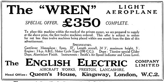 The English Electric Wren Light Aeroplane. 3 HP ABC Engine. 398cc