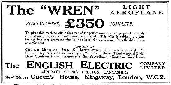 The English Electric Wren Light Aeroplane. 3 HP ABC Engine. 398cc