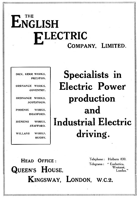 English Electric - Industrial Electric Driving & Power Production