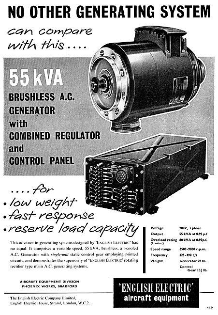 English Electric 55 kVA Brushless AC Generator & Regulator