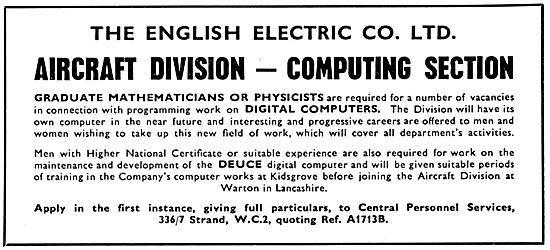 English Electric Deuce Digital Computer  - Recruitment 1957