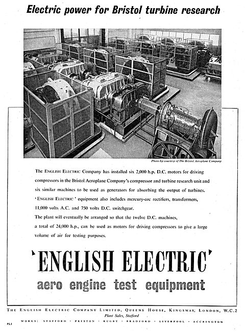 English Electric Power For Bristol Turbine Research