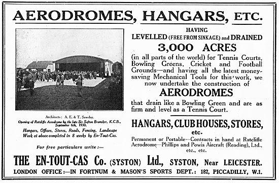 En-Tout-Cas Aerodromes & Hangars For Ratcliffe Aerodrome
