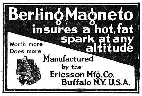 Ericsson Berling Aero Engine Magnetos. Buffalo N.Y. USA